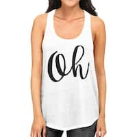 Oh Womens White Sleeveless Tanks Cute Calligraphy Gym Workout Top