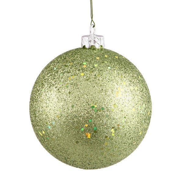 "Green Kiwi Holographic Glitter Shatterproof Christmas Ball Ornament 4"" (100mm)"