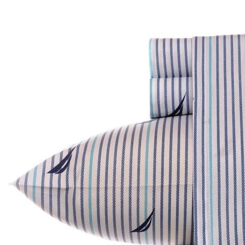 Nautica Cotton Percale Deep Pocket Bed Sheet Sets