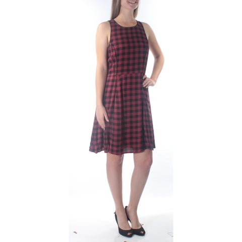 SANCTUARY Womens Red Sleeveless Jewel Neck Below The Knee Fit + Flare Dress Size: M