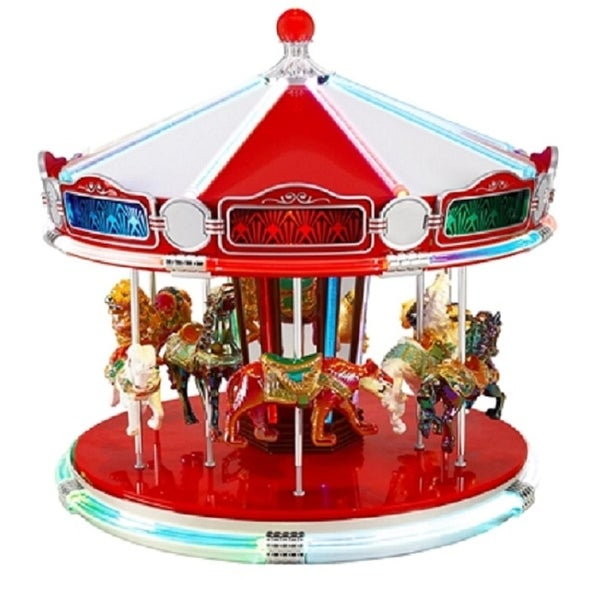 Mr. Christmas World's Fair Animated Musical Carousel Decoration #79789 - RED