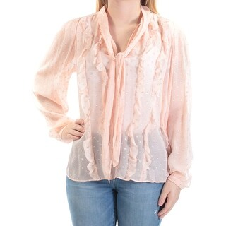 REBECCA TAYLOR $395 Women New 1387 Pink Sheer Metallic Tie Neck Blouse Top 6 B+B