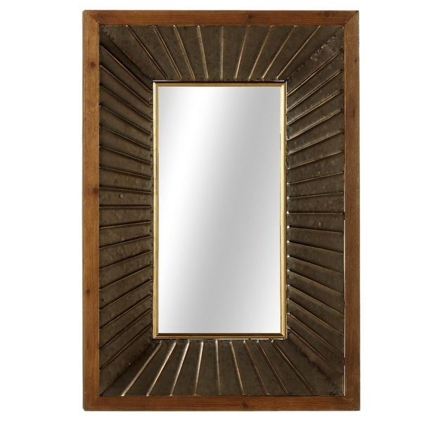 Wooden Brown Framed Galvanized Metal Fluted Decorative Rectangular Wall Mirror 38