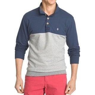 IZOD NEW Blue Mens Size 2XL Colorblock Button Mock Henley Sweater