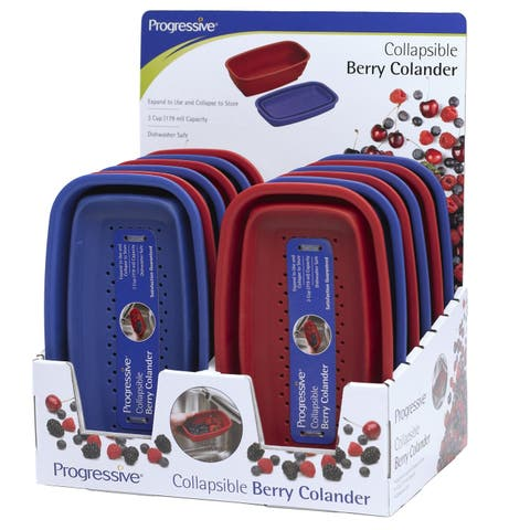 Prepworks by Progressive CC-7CDP Collapsible Berry Colander, Pack of 12, Red & Purple