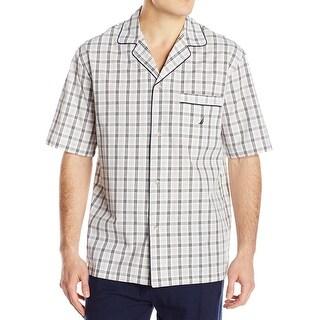 Nautica NEW Beige Mens Size Small S Plaid Print Button Down Nightshirt