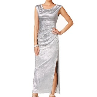 Connected Apparel NEW Silver 14 Empire Waist Slit Draped Gown Dress