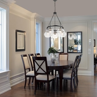 Link to Copper Grove 5-light Matte Black Chandelier with Goldtone Accents - 25.12 inches in diameter x 30 inches tall Similar Items in Chandeliers