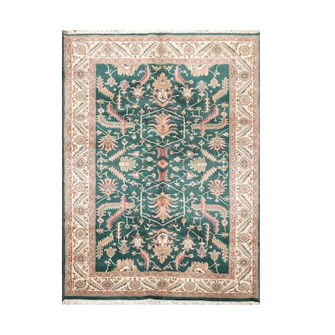 Hand Knotted Heriz Green Wool Traditional Oriental Area Rug (5x8) - 5' 9'' x 8' 5''