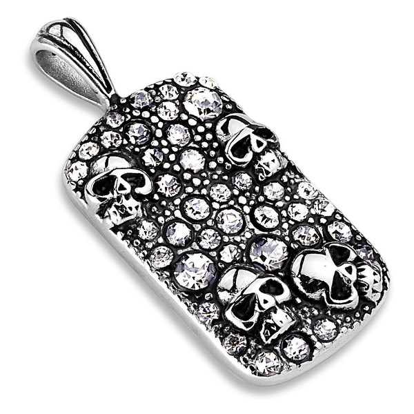 Skulls and Crystals Pave Stainless Steel Pendant (Sold Ind.)