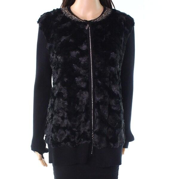 Belldini Deep Black Womens Size XL Embellished Faux-Fur Jacket