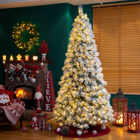 Glizthome Pre-Lit Snow Flocked Faux Pine Christmas Tree With Warm White/Multi-Color Lights