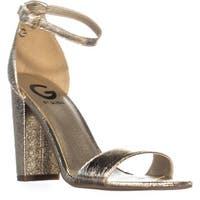 G Guess Shantel3 Ankle Strap Block Heel Sandals, Gold