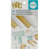 """We R Memory Keepers Paper Pad 3""""X5""""-Gold & Silver Metallic Foil, 36/Pkg"""