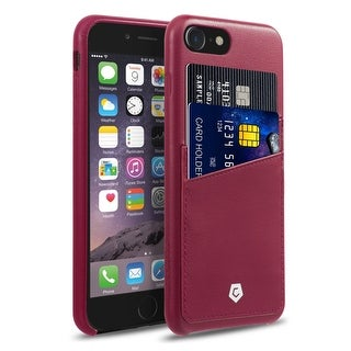 CobblePro Burgundy Leather with Wallet Flap Pouch For Apple iPhone 7