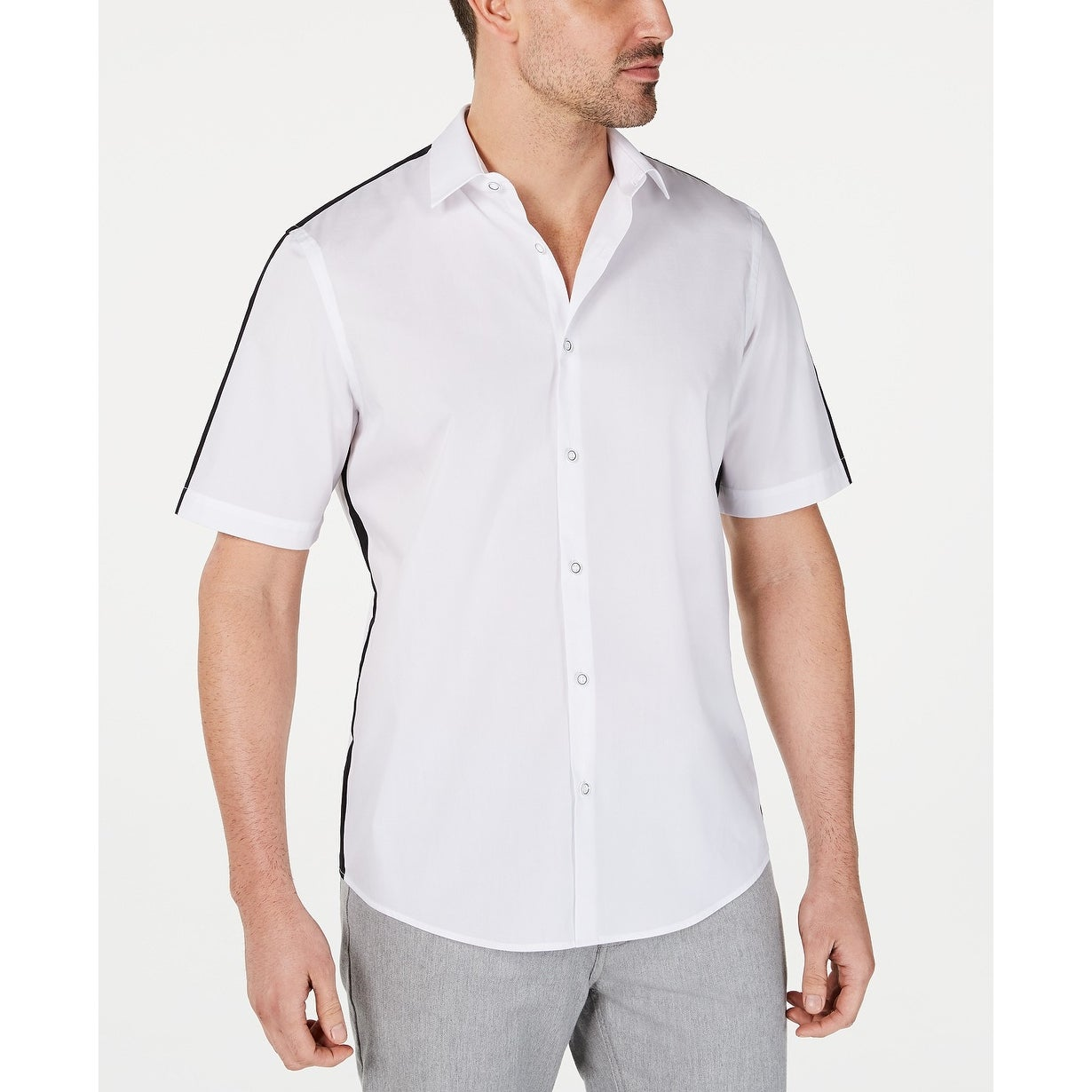 Alfani Men/'s Colorblocked Silk Blend Short Sleeve Shirt Wash White 17301CSW