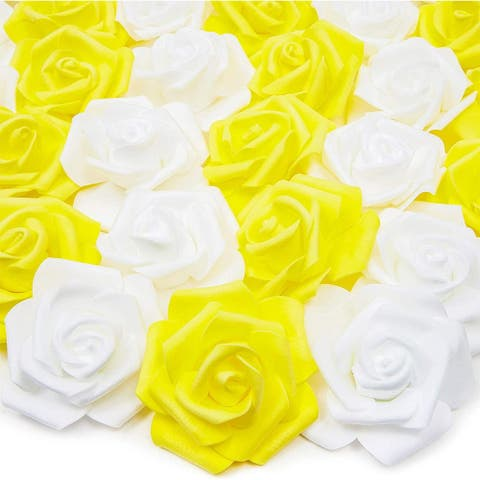"100 Pack 3"" Yellow White Artificial Rose Fake Flower Heads for Flower Décor"