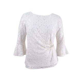 Alex Evenings Women's Petite Embellished Lace Top - ivory/gold