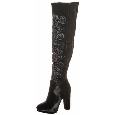 Jessica Simpson Grizella Women's Over The Knee Velvet Floral Boots