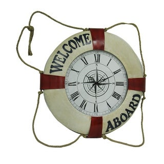Red / White Life Ring Nautical Knot Wall Clock 29 Inch Diameter