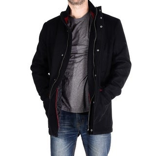 Men Wool Blend Coat - Black