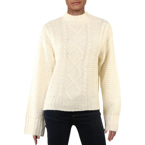 Alison Andrews Womens Pullover Sweater Cable Knit Mock Neck - Mashmallo - M