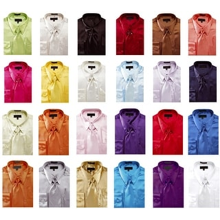 Men's Solid Color Satin Dress Shirt 1