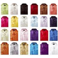 Men's Solid Color Satin Dress Shirt 1