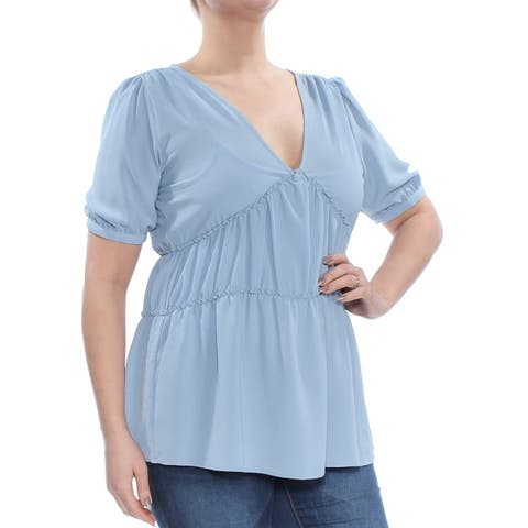 MICHAEL KORS Womens Light Blue Ruched 3/4 Sleeve V Neck Top Size: L