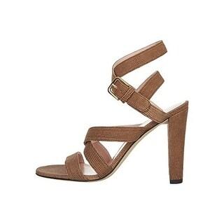 Stuart Weitzman Womens Fitzme Leather Textured Open-Toe Heels