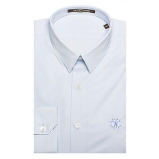 Roberto Cavalli Men's Point Collar Cotton Dress Shirt Light Blue