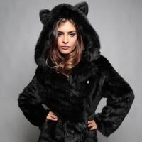 Women's  Fur Collar  Coat Hooded Ears Cartoon Plush   Winter Knit Jacket Lapel Fluffy Long  Casual Coat Cotton