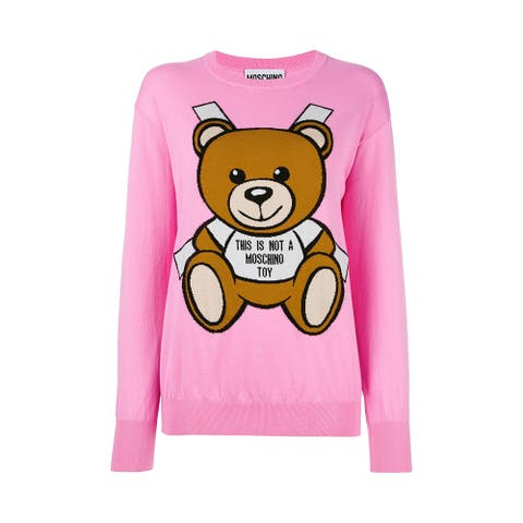 Moschino Couture Women's Cotton Crew Neck Bear Sweater Dress Pink