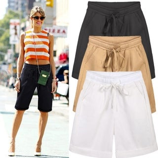 Summer Women's Casual Loose Linen Short Pants Shorts In Plus Size