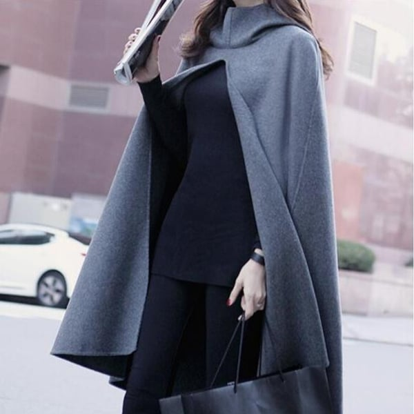 f7a6256ae47 Shop Autumn and Winter Clothes Wave Hooded Woolen Cape Coat Jacket Women  Coat Long Shawl Plus Size XXXL - Free Shipping Today - Overstock - 23026445