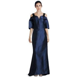 Carolina Herrera Embellished Strap Cold Shoulder Evening Gown Dress Navy - 6