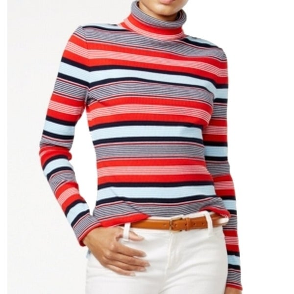 29b4e396ec Shop Tommy Hilfiger NEW Red Womens Size XS Ribbed Striped Turtleneck Sweater  - Free Shipping On Orders Over  45 - Overstock - 18504871