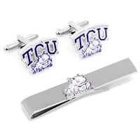 Texas Christian Horned Frogs Cufflinks and Tie Bar Gift Set TCU - Purple