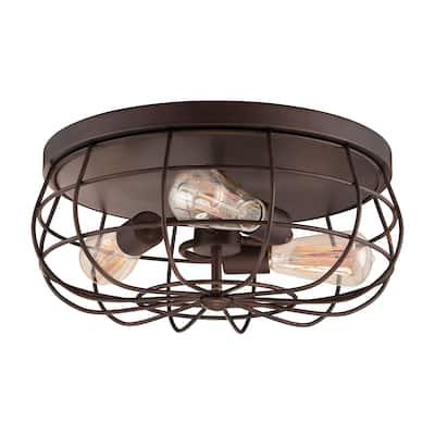 Neo-Industrial 3 Light Flushmount Ceiling Light