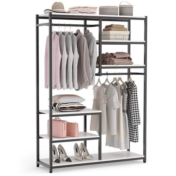 Free Standing Closet Organizer Double Hanging Rod Clothes Garment Racks Overstock 30537676
