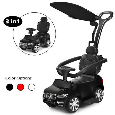 Costway 3 in 1 Licensed Volvo Kids Ride On Push Car Stroller for