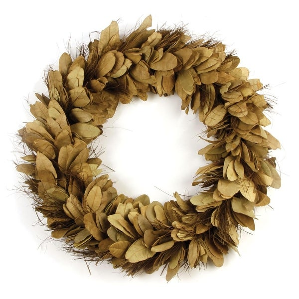 """24"""" Tan and Chestnut Brown Leaves and Thatch Decorative Indoor Wreath"""
