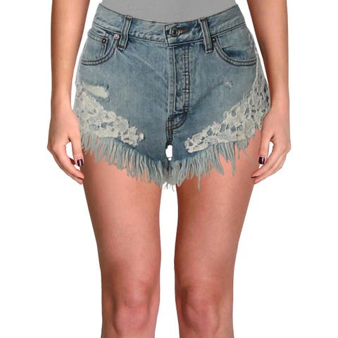 We The Free Womens Good Vibes Denim Shorts Light Wash Embroidered
