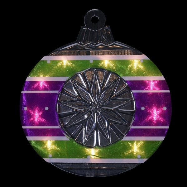 "15.5"" Lighted Shimmering Purple, Green, White & Silver Ornament Christmas Window Silhouette Decoration - PURPLE"
