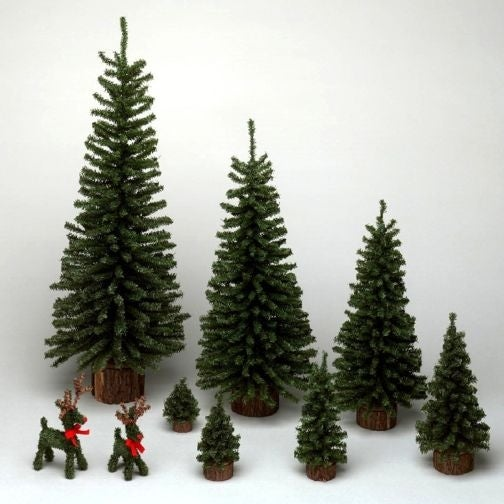 "9"" Mini Pine Tree 92 Tips Wood Base"