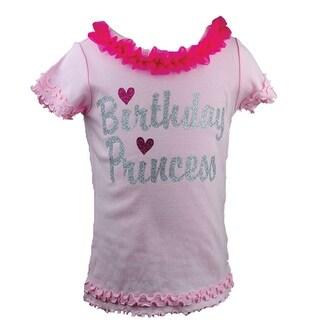 "Reflectionz Baby Girls Fuchsia Silver ""Birthday Princess"" Ruffle Tee 12-18M"