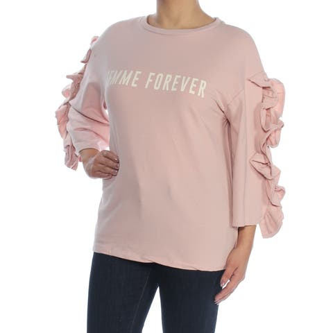 POLLY & ESTHER Womens Pink Ruffle-sleeve Graphic 3/4 Sleeve Jewel Neck Sweater Juniors Size: S