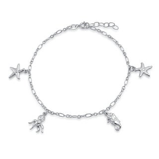 Bling Jewelry Sterling Silver Nautical Octopus Starfish Charm Anklet 9in