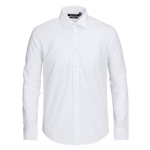 Men's Regular Fit Travel Easy-Care Cotton Dress Shirt
