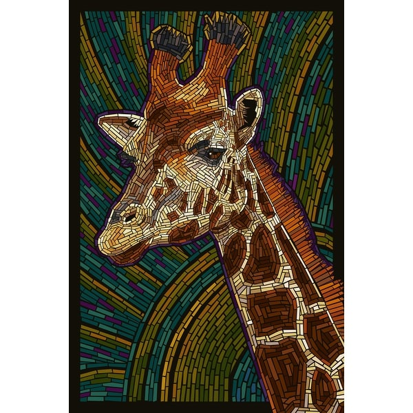 Giraffe - Paper Mosaic - LP Artwork (100% Cotton Towel Absorbent)